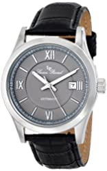 "Lucien Piccard Men's LP-12392-014 ""Meuse"" Stainless Steel Automatic Watch with Black Leather Band"