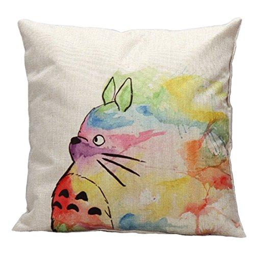 peigee Cartoon Stil Überwurf Kissen Bezug Lovely Cat Face Kissen Fall Baumwolle Leinen Stoff Kissenbezüge quadratisch 45,7x 45,7cm für Sofa/Auto Sitz Totoro