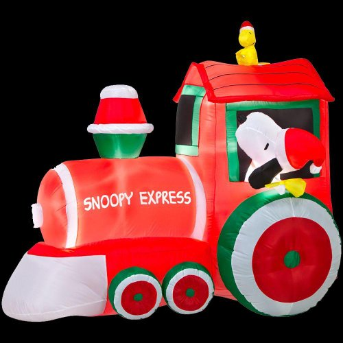 Christmas Decoration Lawn Yard Inflatable Airblown Peanuts Snoopy & Woodstock Train 5' front-963904