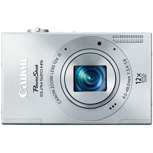 514pDmrUnhL Canon PowerShot ELPH 520 HS 10.1 MP CMOS Digital Camera with 12x Optical Image Stabilized Zoom 28mm Wide Angle Lens and 1080p Full HD Video Recording (Silver)