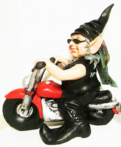 Biker Babe Garden Gnome on Red Motorcycle with Motion Activated Sound