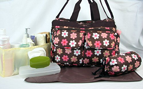 SoHo flower Diaper Bag with changing pad 6 Pcs Set