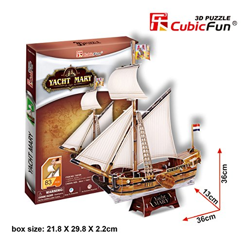 Yacht Mary 3D Jigsaw Puzzle with 83 pieces, made by CubicFun - 1