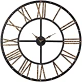 Sterling 129-1024 Restoration Metal Framed Roman Numeral Open Back Wall Clock, 28 by 28-Inch, Mombaca Black/Gold