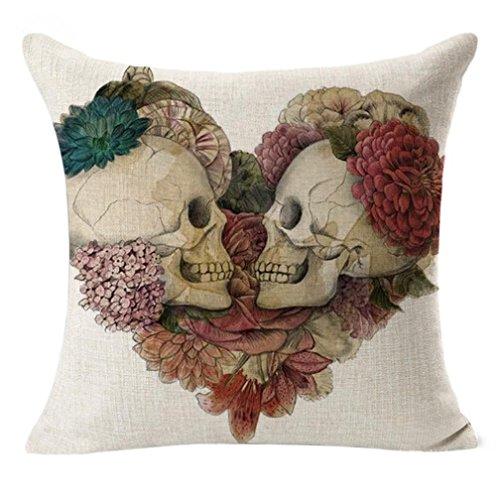 [Pillowcase, Ammazona 18'' Linen Vintage Skull Throw Flax Pillow Case Decorative Pillow Home Decor Cushion Cover for] (Halloween Decor For Home)