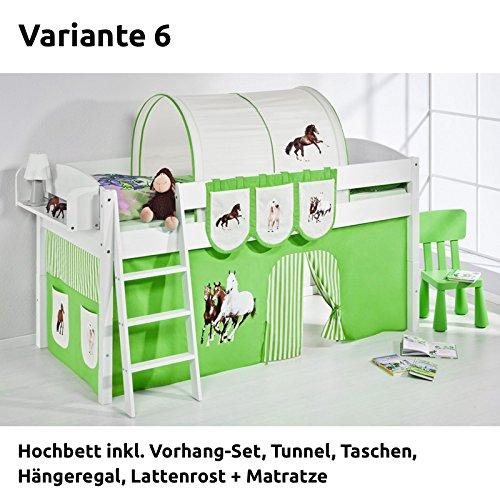 Hochbett Spielbett IDA Pferde Grün Beige, mit Vorhang, weiß, Variante 6 günstig online kaufen