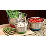 Cook Pro Stainless Steel Mixing Bowls With Non-Skid Base Set Of 3