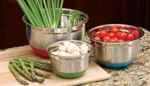 Cook Pro Stainless Steel Mixing Bowls with Non-Skid Base, Set of 3 by Cook Pro