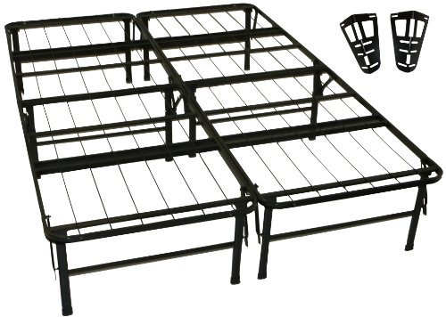 Epic Furnishings Durabed Steel Foundation & Frame-In-One Mattress Support System Foldable Bed Frame With Headboard Attaching Brackets, Full front-20654