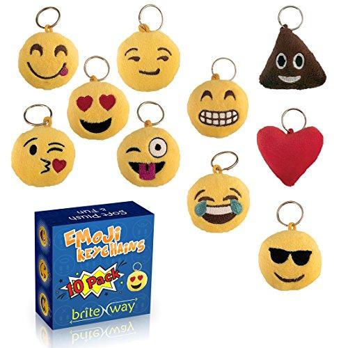 Portachiavi tondo con faccine emoji Set di 10 - Portachiavi cuscini dolci carini morbidi & peluche gialli - Anello del gancio in metallo durevole - divertenti per feste di bambini - Facili da installare su zaini, borse, telefoni & altre cose