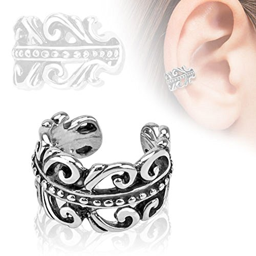 Carved Swirls Rhodium Plated Brass Non Piercing Ear Cuff & FREE ITEMS