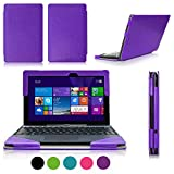 [Corner Protection] ASUS Transformer Book T100 Case Cover, FYY? Fully Armed Leather Case for ASUS Transformer Book T100 Purple