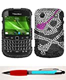 Accessory Factory(TM) Bundle (Phone Case, 2in1 Stylus Point Pen) BLACKBERRY 9900 (Bold) Skull Full Diamond Bling Protector Cover Stylish Design Snap On Hard Case Faceplate Shell