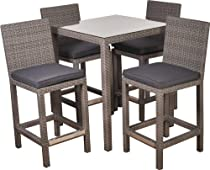 Hot Sale Atlantic 5-Piece Monza Square Bar Set with Grey Cushions