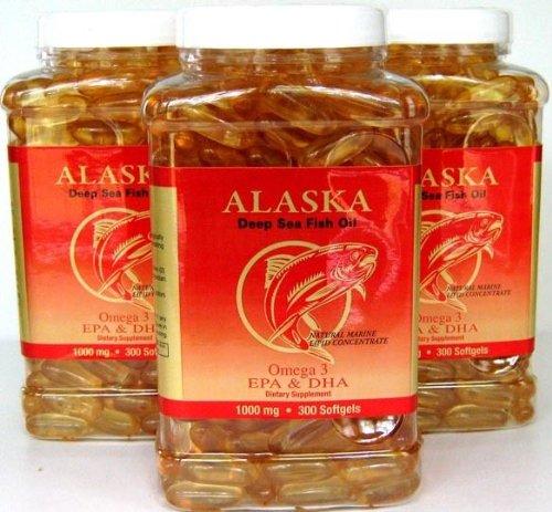 3 X 300 Alaska Deep Sea Omega-3 Fish Oil =900Caps, EPA/DHA, FRESH , New Item Good Product !! (Fresh Omega compare prices)