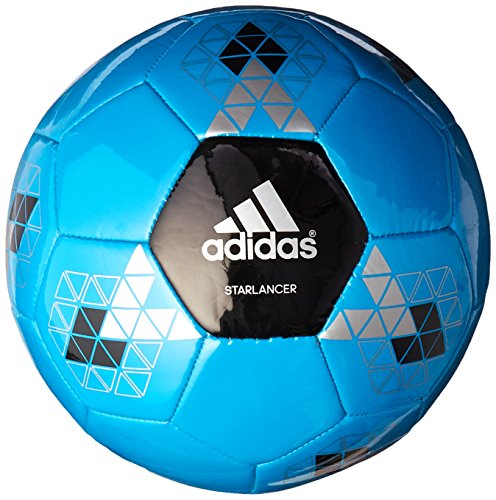 adidas Performance Starlancer V Soccer Ball, Solar Blue/Black/Metallic Silver, 4