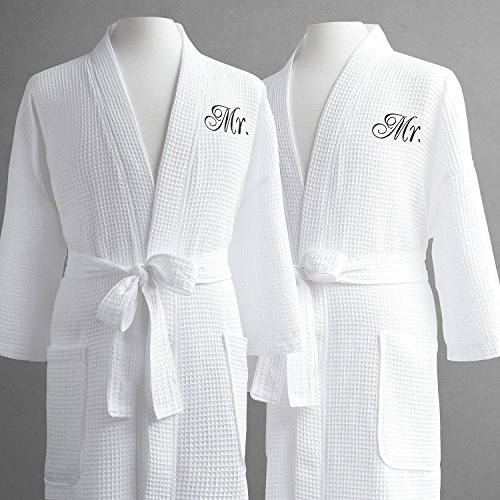 Same-Sex Couple's Waffle Weave Bathrobe Set-100% Egyptian Cotton-Unisex/One Size Fits Most-Spa Robe, Luxurious, Soft, Plush, Elegant Script Embroidery-Luxor Linens-Mr./Mr. with Gift Packaging
