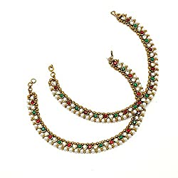 Divinique Jewelry Pair Of Gold Plated Anklets Adorned With Shiny CZ And Pearls ...