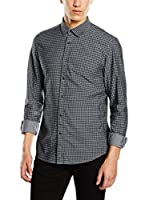 Tom Tailor Denim Camisa Hombre black chambray shirt/512 (Negro)