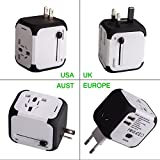 Uppel Worldwide Travel Adapter All-in-one Wall Power Plug Charger with Universal Dual Usb and Safety Fuse for US EU UK AU about 150 countries(White)