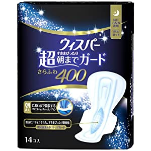 P&G Japan Whisper Sanitary Soft&Dry 400 Napkins with Wings for Extra-heavy Nights - 14 pads