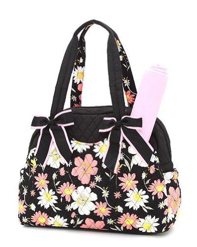belvah quilted floral diaper bag black pink designer nappy bags nappy bags designer. Black Bedroom Furniture Sets. Home Design Ideas