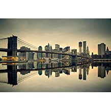 Pitaara Box Brooklyn Bridge And Manhattan At Dusk, New York City, USA - LARGE Size 30.1 Inch X 20.0 Inch - UNFRAMED...