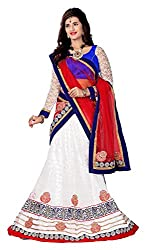 Jiya Presents Embroidered Net Lehenga Choli(White,Blue)