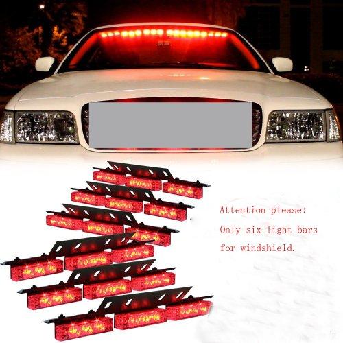 Nilight® Red 54 X Ultra Bright Led Emergency Warning Use Flashing Strobe Lights Bar For Windshield