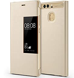 Huawei Ascend P9 Plus Case, Premium Leather Cover with View Window Protective Smartphone Flip Cover Folio Case (Ultra Thin Slim)(Perfect Fit) (P9 plus Golden)