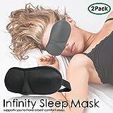 (Set of 2) Infinity Sleep Eye Mask Comfortable Eye Pillow Contoured 3-D Shape Quality Black Super-Soft Satin APL1238