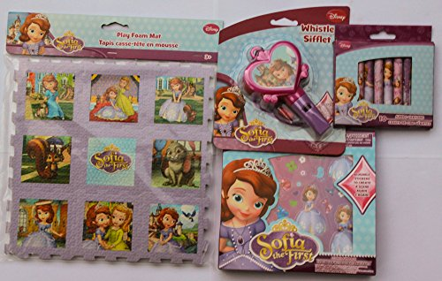 Sofia the First Gift Bundle of 4: Play Foam Mat, Sticker Fun Pack, Jumbo Crayons and Whistle - 1