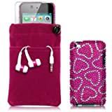 APPLE IPOD TOUCH 4TH GEN 4 PC LUXURY GIFT ACCESSORY PACK - LOVE HEARTS DIAMANTE CASE / COVER / SHELL, SCREEN PROTECTOR, HEADSET, POUCH CASE PART OF THE QUBITS ACCESSORIES RANGE PART OF THE QUBITS ACCESSORIES RANGEby Qubits