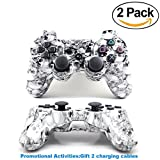 [2 Pack] Wireless Double Vibration Game Controller Bluetooth Sixaxis Gamepad Remote for PS3 Playstation 3 [Gift 2 Charging-Cable] (White Skull)