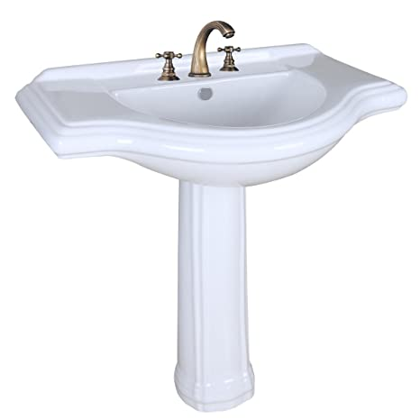 "Large Pedestal Sink White Vitreous China 34"" Wide Counter 8"" Widespread Scratch And Stain Resistant"