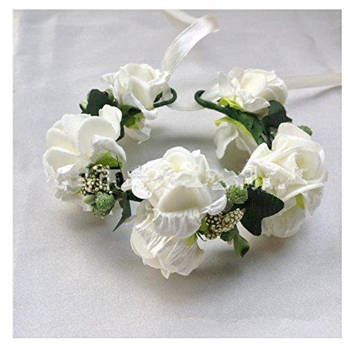 SwirlColor Jeune mariée de demoiselle d'honneur Exquisite Floral fleur poignet blanc élégant fleur poignet pour fille mariée de demoiselle d'honneur