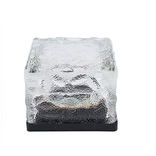 Newstylee White Solar Powered Led Crystal Glass Ground Brick Light Decorative Lamp Weatherproof Waterproof At Party Path Garden Yard Lawn (Pack 2)