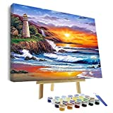 VIGEIYA DIY Paint by Numbers for Adults Include Framed Canvas and Wooden Easel with Brushes and Acrylic Pigment 15.7x19.6inch (Color: The seaside sunset, Tamaño: 15.7*19.6in)