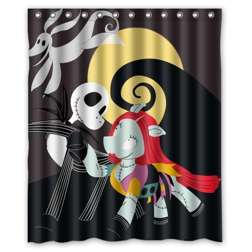 """Anhome Nightmare Before Christmas Cartoon Dog Skull And Moon Shower Curtain 60""""X 72"""""""