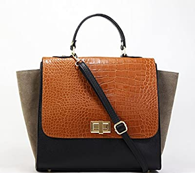 100% CUIR Sac Main ** RABAT CROCO ** Grainé Daim Velours leather bag - OUTLET - noir rouge taupe beige