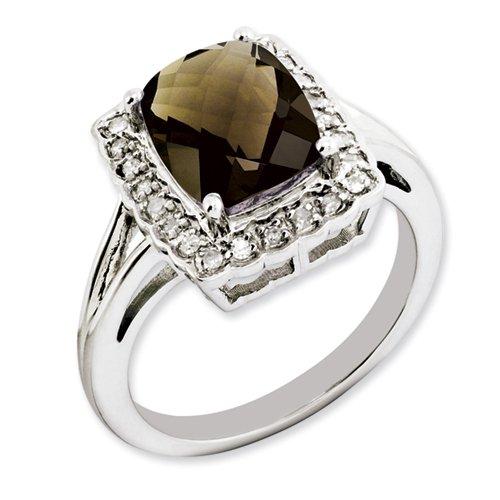 Sterling Silver Smoky Quartz & Diamond Ring