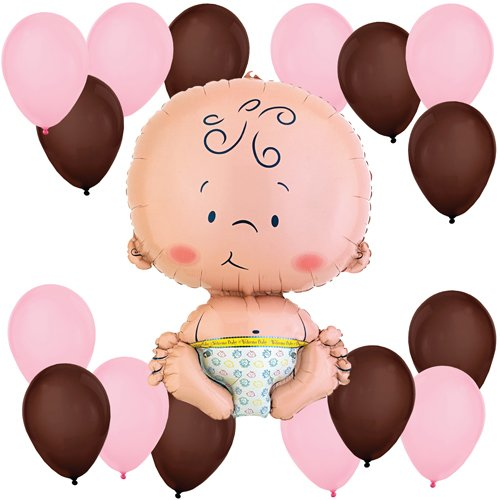 Girl Baby Balloon Kit (Pink and Brown)