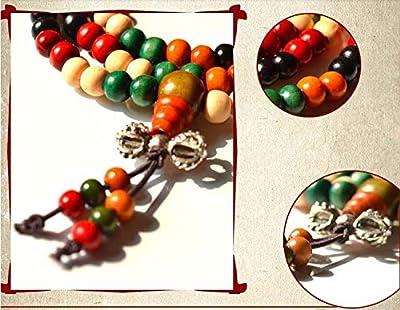 SwirlColor Set of 2 108 Stück Tibetanische buddhistische Gebet Multi Strand Runde Sandelholz Perlen Armband oder Halskette (Five farben mit Vajra Knot)