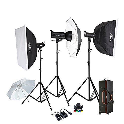 Godox Proffesional 1200W Photography Flash Studio Strobe kit Three 400w Sk400 Monolight Lighting Kit,includes (3)400W SK400 Strobe Light+(3)Light Stand+(2) 60*90 Soft Box+(2)Standard Reflector+(1) Translucent Snow White 84cm(33