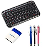 BIRUGEAR Black Bluetooth Wireless Mini Keyboard + 3x Pen Stylus (Black / Red / Blue) + Mini Brush for HP 7 Plus, Pro Tablet 610 G1, ElitePad 1000 G2, ProPad 600 G1, 8 1401, Slate8 Pro, Slate7 Plus, Omni 10 ,Slate 7 Extreme ,Slate 10 HD ,Slate 7 HD & Othe