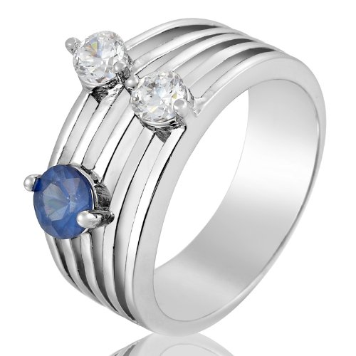 Rizilia Engagement! Blue Sapphire 18K White Gold Plated Ring Lady 6/M