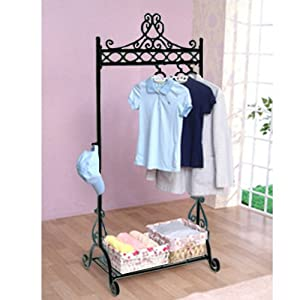 shabby chic clothes hanging rails metal black. Black Bedroom Furniture Sets. Home Design Ideas