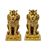 Redbag Decorative Pair Of Brass Lion Statue ( 8.89 Cm, 5.08 Cm, 4.45 Cm )