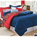 Dorm Bedding Set Dorm Room In A Box Comforter Sheet Set Mattress Pad Pillow Towel Set   Navy Red   Twin Xl 10 Pc Set