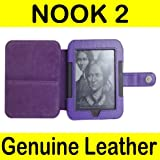 Mochie Barnes Noble Nook 2 2nd Edition Generation Simple Touch Genuine Leather Case Cover Purple